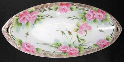 Antique Nippon Handled Celery Relish Dish Veggie Bowl Serving Piece Japan 13""