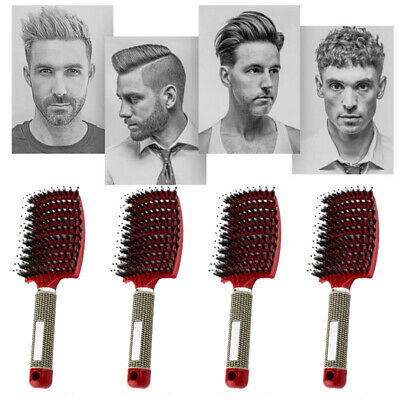 Professional Bristle & Plastic Hairbrush Comb Salon Hair Styling Massager Brush