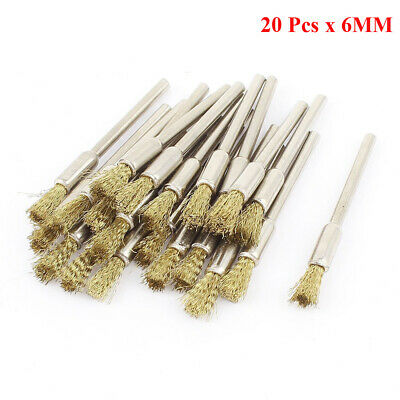 20pcs 6mm Brass Wire Pen Grinding Brushes for Dremel Die Grinder-Rotary Tool UK