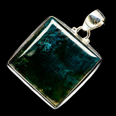 """Green Moss Agate 925 Sterling Silver Pendant 1 1/2"""" Ana Co Jewelry P691685F"""