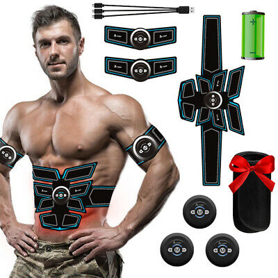 6 Modes USB Rechargeable EMS Abs Trainer Abdominal Belt Muscle Toner Trainer UK