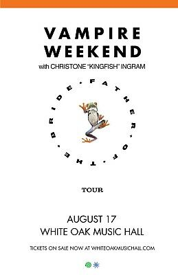 "VAMPIRE WEEKEND ""FATHER OF THE BRIDE TOUR"" 2019 HOUSTON CONCERT POSTER-Indie Pop"