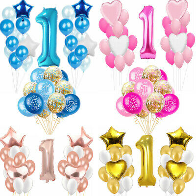Happy 1st Birthday Party Foil Balloons First Number 1 Baby Boy Girl Rose Gold