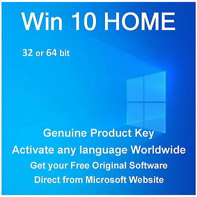 Win 10 HOME KEY 32 or 64bit - Clean instal or Upgrade Win 7 or 8 and KEEPS FILES