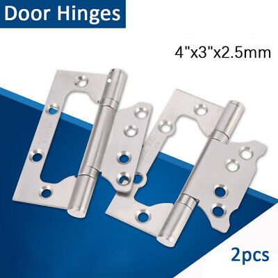 2 x Flush Door Hinges Stainless 40mm Small Cabinet Cupboard