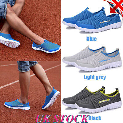 Mens Mesh Slip On Trainers Sneakers Breathable Soft Running Athletic Shoes Size