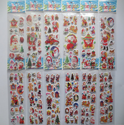 3D Cute Christmas Stickers for Kids Xmas Card-Making Home Decoration Craft Gift