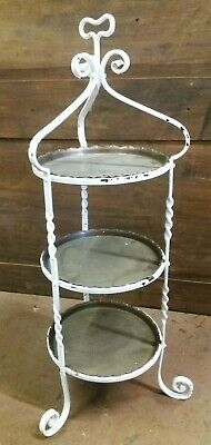 Victorian Wrought Iron & Brass Floor Standing  3 Tier  Cake Stand