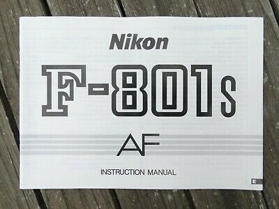 Nikon F801s Instruction Manual - Original not a copy - Free UK Postage