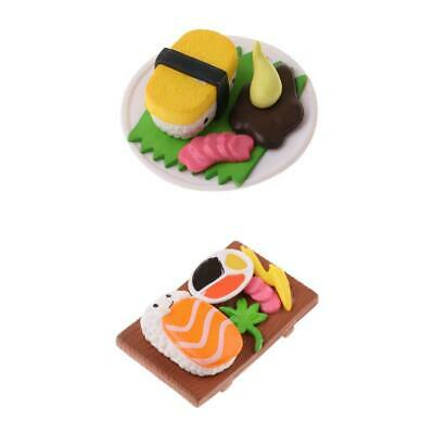 2Pcs Miniature Japanese Food Sushi for Dollhouse Kitchen Decor for 1:12