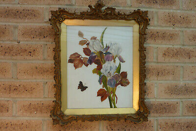 Antique 19thC French Rococo Picture Frame + Glass Cover + Flora Painting