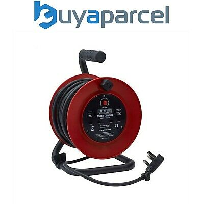 Faithfull 20m Abierta Marco Carrete Cable 2 Enchufe 240v FPPCR20M XMS1920CABLE