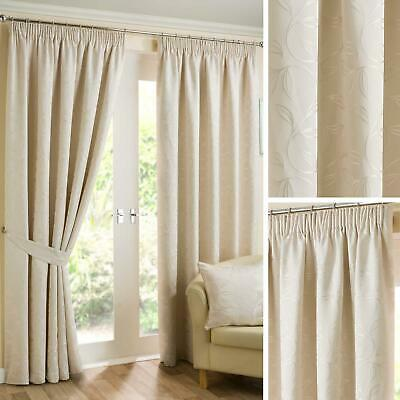 """Cream Lined Curtains Tape Top Floral Ready Made 3"""" Pencil Pleat Curtain Pairs"""