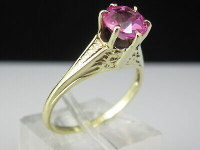 Retro Pink Sapphire Ring 14K Yellow Gold Estate Vintage Art Deco Period Jewelry