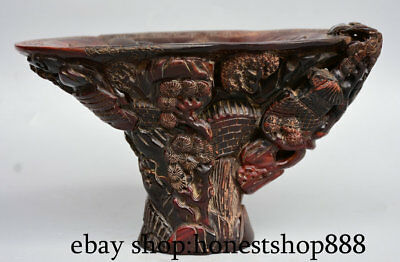 """8"""" Rare Old Marked Chinese Palace Ox Horn Hand-Carved Pine Tree Drink Wine Cup"""