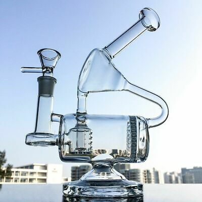 "9"" Clear Glass Bong Recycler Water Pipe Honeycomb Inline Perc Unique Hookahs"