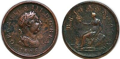 GREAT BRITAIN  Penny 1806 GEORGES III KM#663