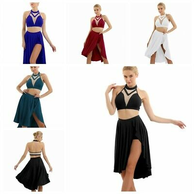 Damen Lyrisch Tanzkleid Crop Top + Asymmetrisch Rock Ballett Latein Tanz Outfits