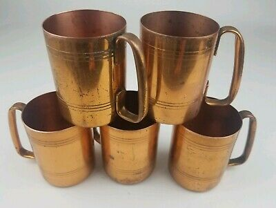 American Metalcraft Copper Moscow Mule Mug Set of 5 Cups Vintage Rare Design HTF