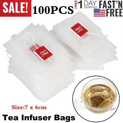 100X Nylon Empty Tea Infuser Herb Spice Filter Strainer Bags W/String Household