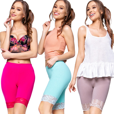 Womens NEW Summer Cropped Leggings with Floral Lace Solid Cotton Capri Pants LKL