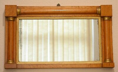 Antique Regency/Biedermeier Rare Birdseye maple Small Over Mantel Hall Pier Glas