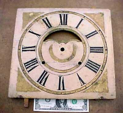 """Antique Wood Grandfather / Ogee Clock 12"""" Dial Face w/ Cut-out OG"""