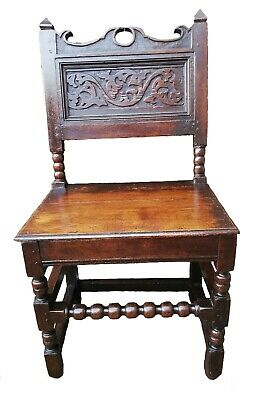 17th century Charles II. period oak Lancashire side chair or back stool C.1670