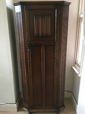 Antique Vintage Oak Carved Hall Wardrobe - coat cupboard