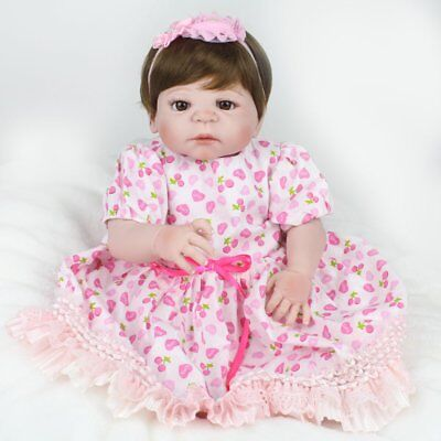 "22"" Reborn Baby Dolls Full Body Vinyl Silicone Girl Doll Newborn Waterproof Gift"