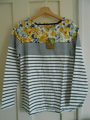 Joules Harbour Jersey Top Shirt in DUSK GREY WINTER FLORAL UK8 10 12 14 18
