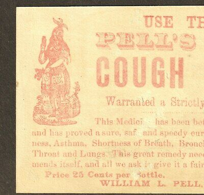 Pell's Indian Cough Balsam Cure Asthma Remedy bottle card Victorian Advertising