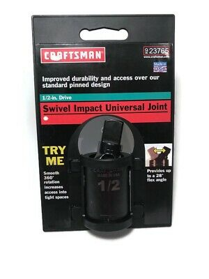 "Craftsman 1/2"" Drive Pinless Impact Universal Swivel Joint Made In USA , 9-23765"