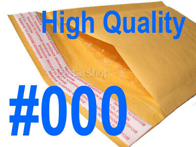 500 #000 Kraft Bubble Padded Envelopes Mailers Packing Bag 4 x 8