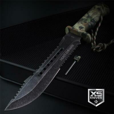 Tactical STONEWASHED Hunting Combat CAMO Survival Fixed Blade BOWIE Knife 12""