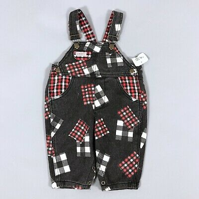 Vintage 80s Baby Guess Plaid Denim One-Piece Overalls Size 3M 3 Months NEW/NWT