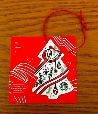 """STARBUCKS 2017 """" Christmas Tree """" Gift Card Ornaments Limited Release New"""
