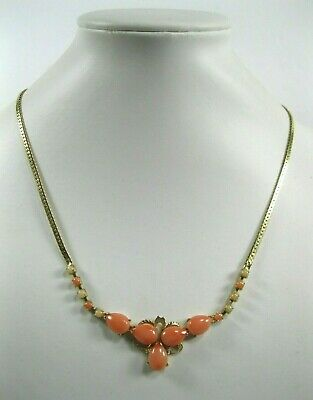 VTG GENUINE ANGEL SKIN CORAL GOLD Tone NECKLACE Victorian style high fashion