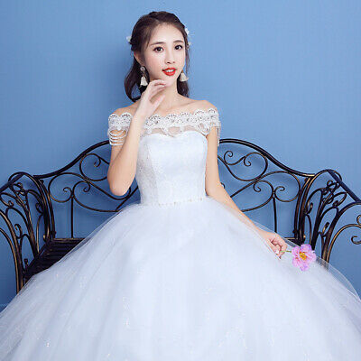 Full Length Lace Off-shoulder Bridal Wedding Dresses Beaded Princess Ball Gowns