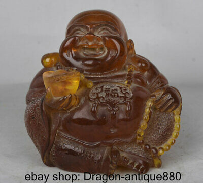 """4.8"""" Old Chinese Amber Carving Seat laugh Happy Maitreya Buddha Wealth Statue"""