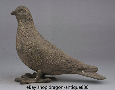 "8.4"" Rare Old Chinese Bronze Folk Feng Shui bird of peace pigeon dove Statue"