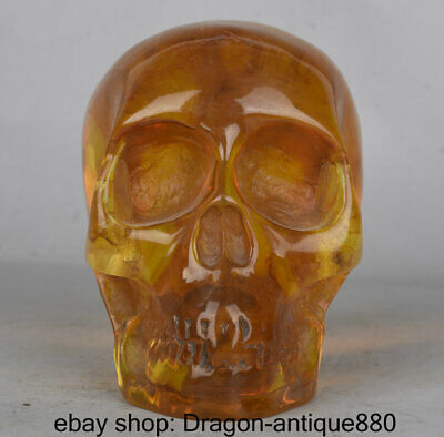 """4"""" Old Chinese Yellow Amber Carving human skeleton Skull Head Statue Sculpture"""