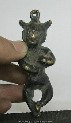 Old Chinese Folk Bronze Stand Boy Kid Tong Zi Lad Collect Statue amulet Pendant
