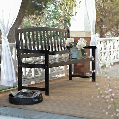 5-Ft Outdoor Curved Back Garden Bench with Armrest in Black Wood Finish
