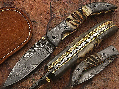 Hand Made Damascus Blade Folding Hunting Knife With Real Leather Sheath Wt 5073R