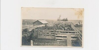 1920 J.W. Lough's Ranch Scott Co. Kansas Horses,Steer,Windmill,Men & Women Rider