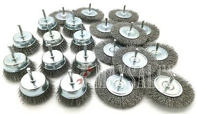 20pc Wire Wheel Brushes for Drill 1/4 Shank Huge Lot Box Assortment Set