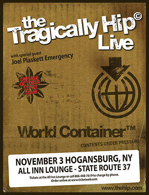 """The Tragically Hip """"Live World Container"""" 2015 New York Concert Tour Poster"""
