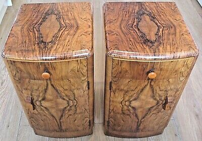 Rare matching pair art deco Walnut quarter veneer Bedside Cabinets with drawers