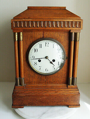 Large Antique Oak Cased Striking Mantel Clock 42cm Tall